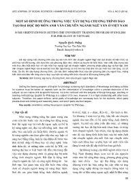 Một số định hướng trong việc xây dựng chương trình đào tạo đại học bộ môn Anh văn chuyên ngành Ngữ văn ở Việt Nam