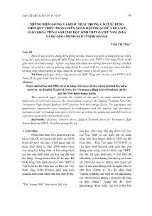 Những điểm giống và khác nhau trong cách sử dụng phép quy chiếu trong diễn ngôn hội thoại giữa bộ sách giáo khoa tiếng Anh cho học sinh THPT ở Việt Nam (2015) và bộ giáo trình new interchange