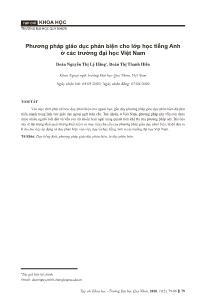 Phương pháp giáo dục phản biện cho lớp học tiếng Anh ở các trường đại học Việt Nam