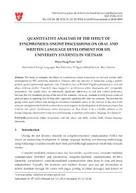 Quantitative analysis of the effect of synchronous online discussions on oral and written language development for efl university students in Vietnam