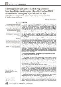 Sử dụng phương pháp học tập tích hợp Blended learning để đào tạo tiếng Anh theo định hướng Toeic cho sinh viên Trường Đại học Kiến trúc Hà Nội