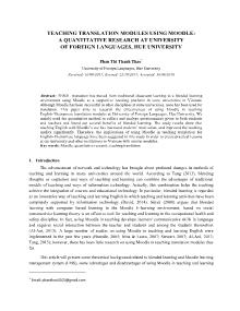 Teaching translation modules using moodle: a quantitative research at university of foreign languages, Hue university